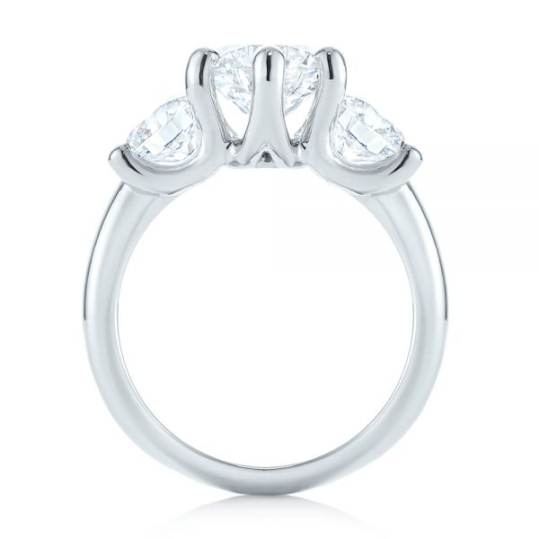 Platinum Modern Three Stone Diamond Engagement Ring - Front View -  104656 - Thumbnail