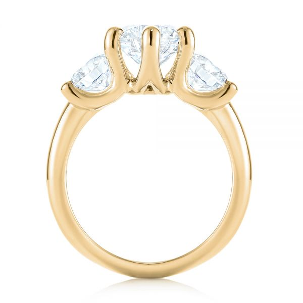 14K Yellow Gold Modern Three Stone Diamond Engagement Ring - Front View -  104656 - Thumbnail
