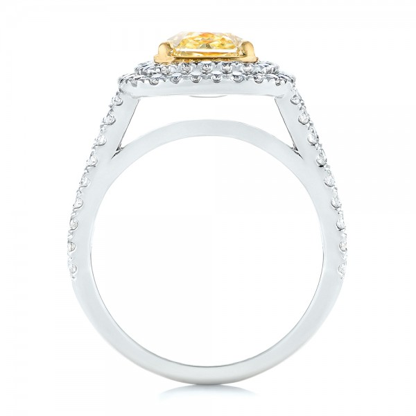 Natural Yellow Diamond Engagement Ring - Finger Through View