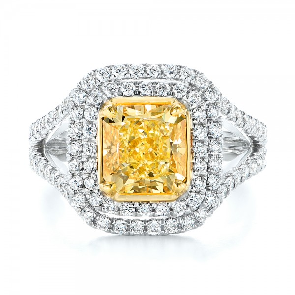 Natural Yellow Diamond Engagement Ring - Top View