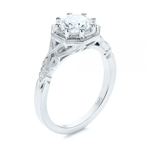 Octagon Halo Diamond Engagement Ring - Image