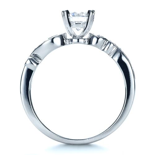 Organic Diamond Engagement Ring - Kirk Kara - Finger Through View