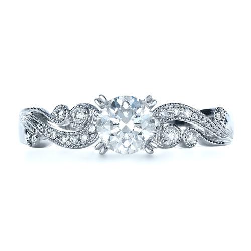 Organic Diamond Engagement Ring - Kirk Kara - Top View