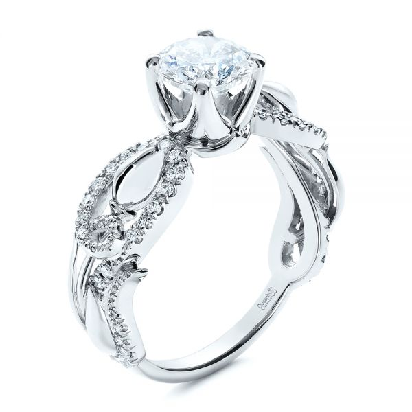 14k White Gold Organic Diamond Engagement Ring - Three-Quarter View -