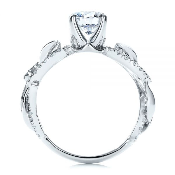 14k White Gold Organic Diamond Engagement Ring - Front View -