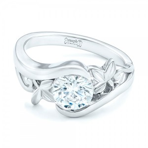 Organic Leaf Solitaire Diamond Engagement Ring