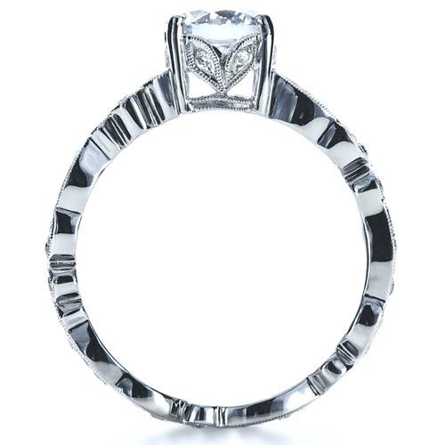 Organic Diamond Engagement Ring - Finger Through View