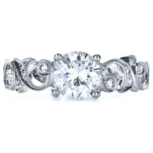 Organic Diamond Engagement Ring - Top View