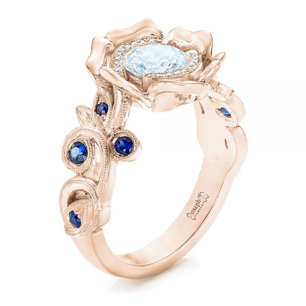 14k Rose Gold 14k Rose Gold Organic Flower Halo Diamond And Blue Sapphire Engagement Ring - Three-Quarter View -