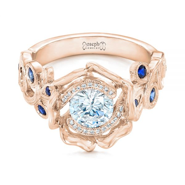 14k Rose Gold 14k Rose Gold Organic Flower Halo Diamond And Blue Sapphire Engagement Ring - Flat View -