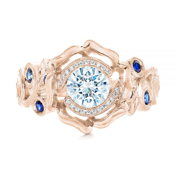 14k Rose Gold 14k Rose Gold Organic Flower Halo Diamond And Blue Sapphire Engagement Ring - Top View -