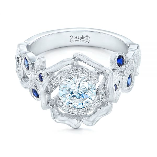 18k White Gold Organic Flower Halo Diamond And Blue Sapphire Engagement Ring - Flat View -
