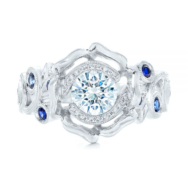 18k White Gold Organic Flower Halo Diamond And Blue Sapphire Engagement Ring - Top View -