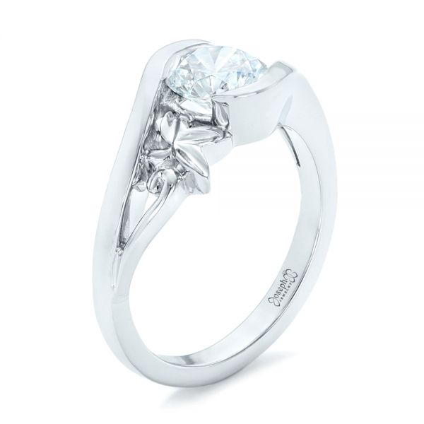 Organic Leaf Solitaire Diamond Engagement Ring - Image
