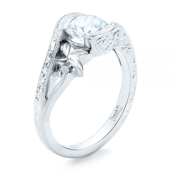 18k White Gold Organic Leaf Solitaire Diamond Engagement Ring - Three-Quarter View -  102580