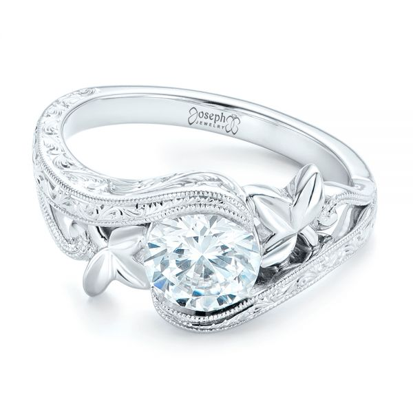 Organic Leaf Solitaire Diamond Engagement Ring -  102580