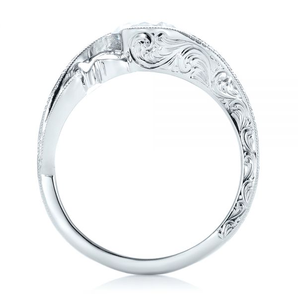 18k White Gold Organic Leaf Solitaire Diamond Engagement Ring - Front View -  102580