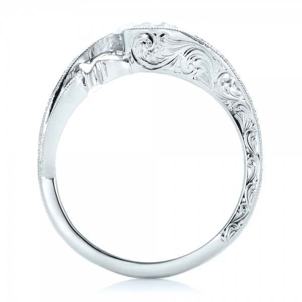 Organic Leaf Solitaire Diamond Engagement Ring - Finger Through View