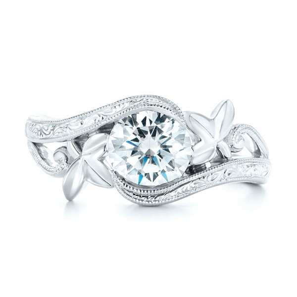Organic Leaf Solitaire Diamond Engagement Ring - Top View