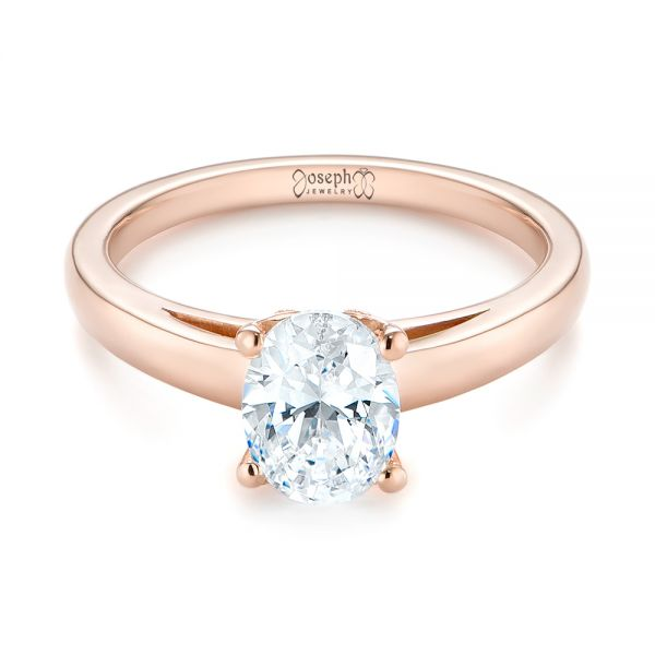 14k Rose Gold Oval Diamond Engagement Ring - Flat View -  104252