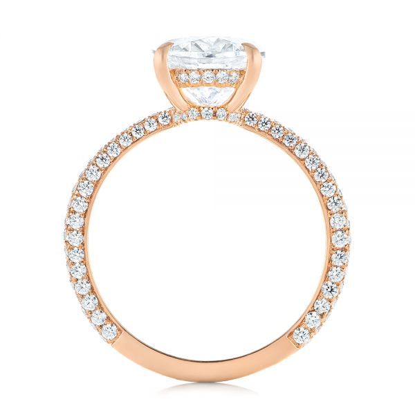 14K Rose Gold Oval Diamond Engagement Ring - Front View -  104080 - Thumbnail