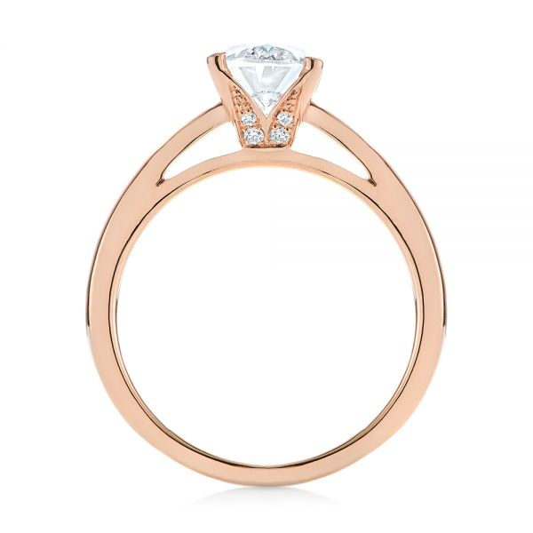 14k Rose Gold Oval Diamond Engagement Ring - Front View -  104252