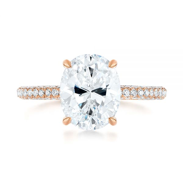 14K Rose Gold Oval Diamond Engagement Ring - Top View -  104080 - Thumbnail