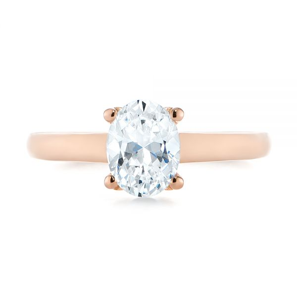 14k Rose Gold Oval Diamond Engagement Ring - Top View -  104252