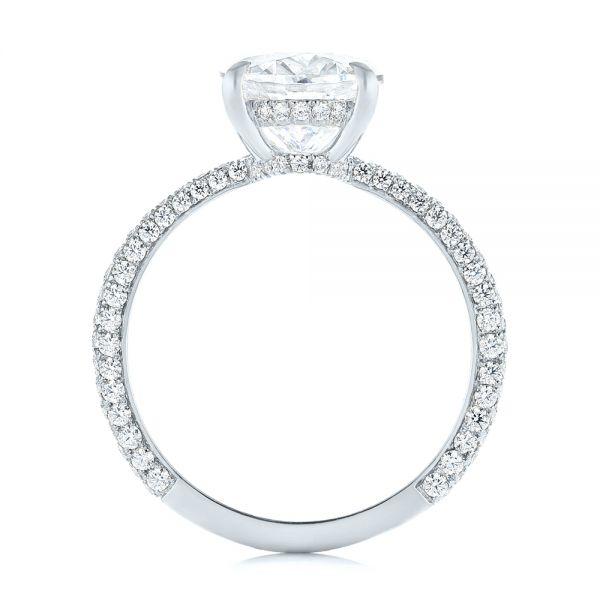 18k White Gold 18k White Gold Oval Diamond Engagement Ring - Front View -