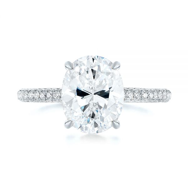 18k White Gold 18k White Gold Oval Diamond Engagement Ring - Top View -