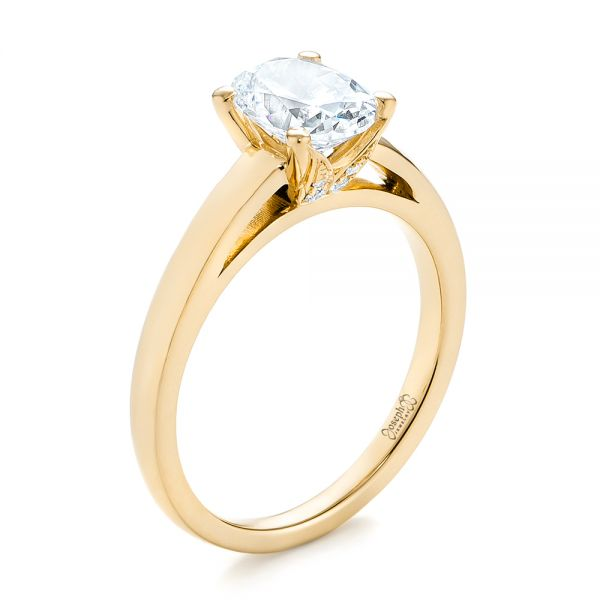 14K Yellow Gold Oval Diamond Engagement Ring - Three-Quarter View -  104252 - Thumbnail