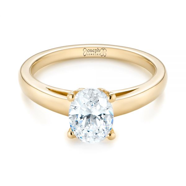 14K Yellow Gold Oval Diamond Engagement Ring - Flat View -  104252 - Thumbnail