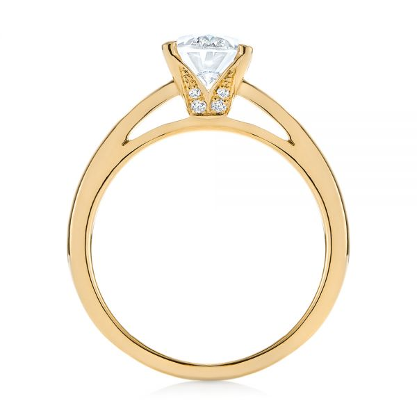 14K Yellow Gold Oval Diamond Engagement Ring - Front View -  104252 - Thumbnail