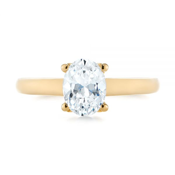 14K Yellow Gold Oval Diamond Engagement Ring - Top View -  104252 - Thumbnail