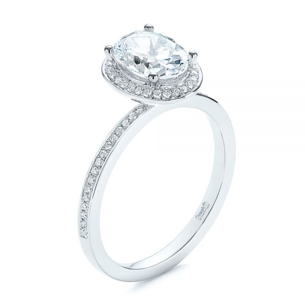 Oval Diamond Halo Engagement Ring - Image