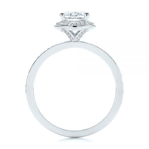 18k White Gold Oval Diamond Halo Engagement Ring - Front View -  105128 - Thumbnail
