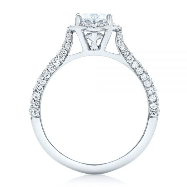 14k White Gold Oval Diamond Halo And Pave Engagement Ring - Front View -