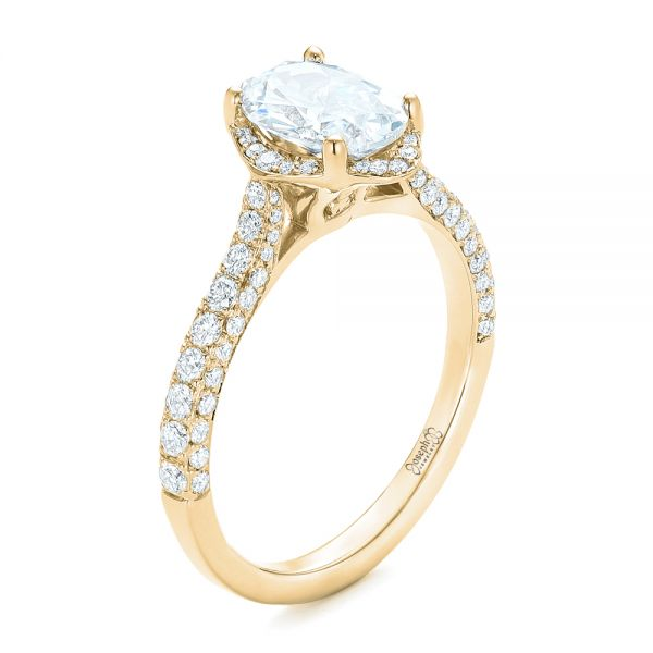 14k Yellow Gold 14k Yellow Gold Oval Diamond Halo And Pave Engagement Ring - Three-Quarter View -