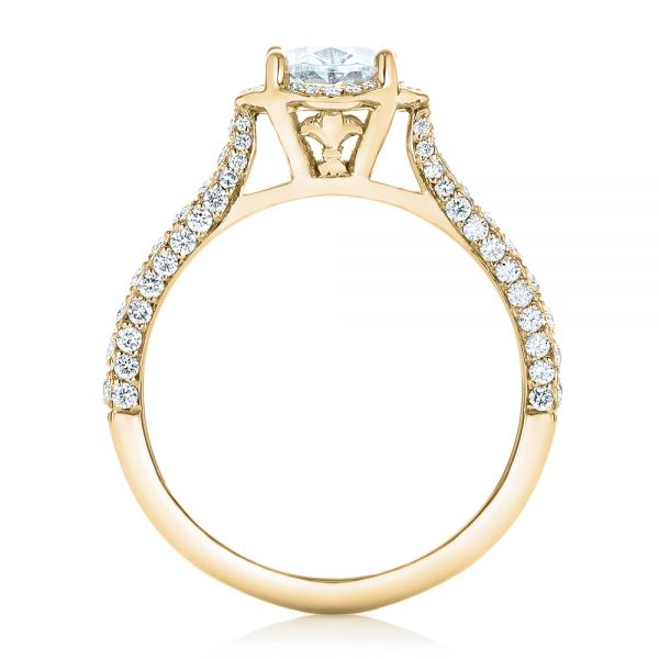 14k Yellow Gold 14k Yellow Gold Oval Diamond Halo And Pave Engagement Ring - Front View -