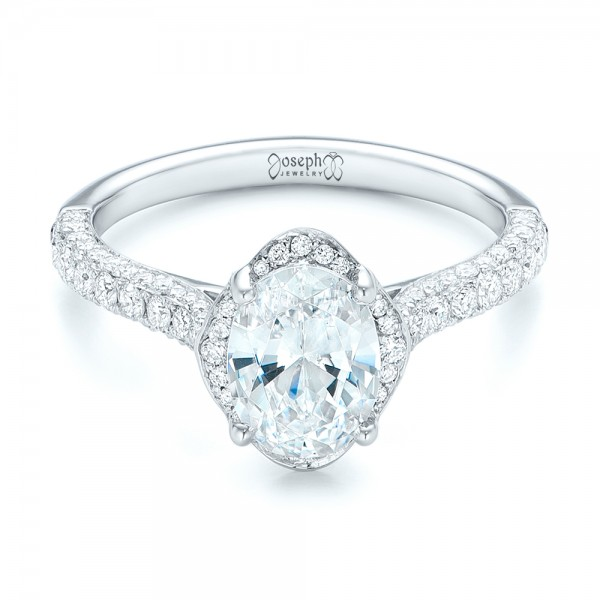 Oval Diamond Halo and Pave Engagement Ring
