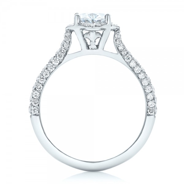 Oval Diamond Halo and Pave Engagement Ring - Finger Through View