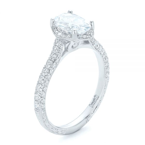 Oval Diamond Halo and Pave Hand Engraved Engagement Ring - Image