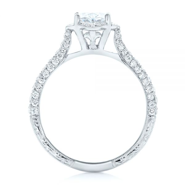 14k White Gold Oval Diamond Halo And Pave Hand Engraved Engagement Ring - Front View -  102506