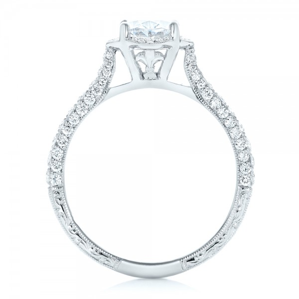 Oval Diamond Halo and Pave Hand Engraved Engagement Ring - Finger Through View