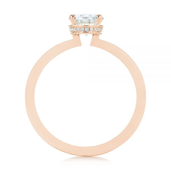 18K Rose Gold Oval Diamond Hidden Halo Engagement Ring - Front View -  105071 - Thumbnail