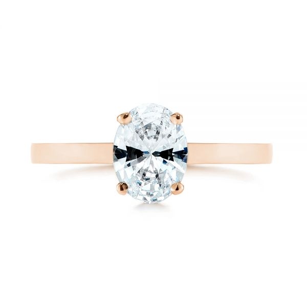 18K Rose Gold Oval Diamond Hidden Halo Engagement Ring - Top View -  105071 - Thumbnail