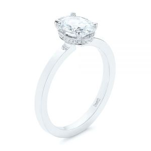 Oval Diamond Hidden Halo Engagement Ring - Image