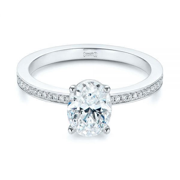 14k White Gold Oval Diamond Hidden Halo Engagement Ring - Flat View -