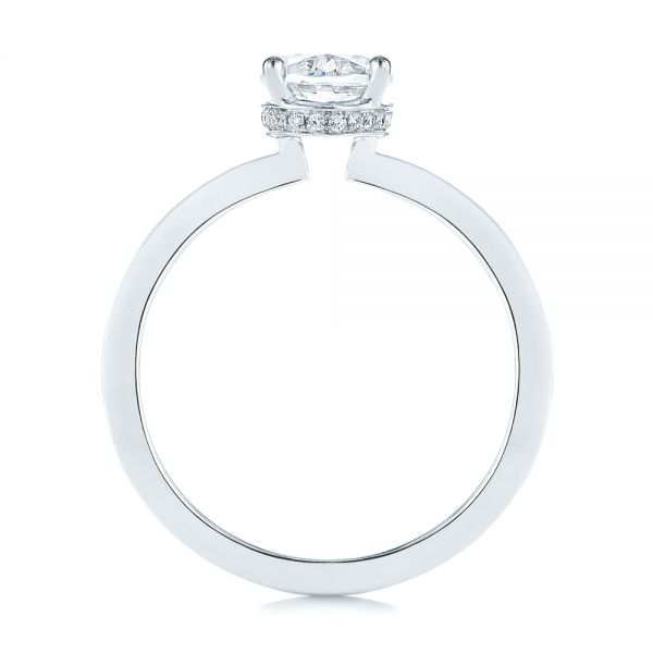 14k White Gold Oval Diamond Hidden Halo Engagement Ring - Front View -