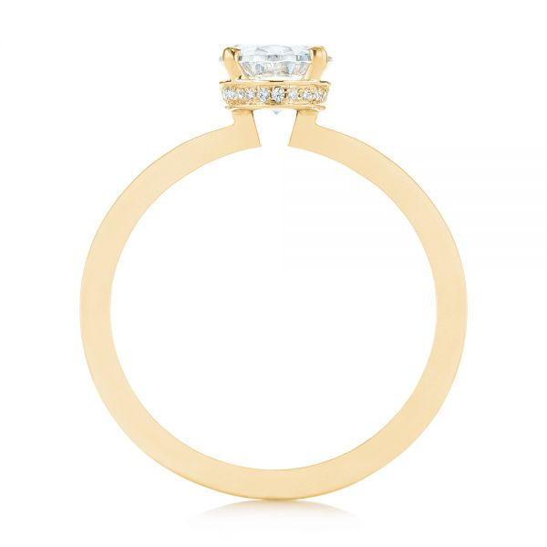 14K Yellow Gold Oval Diamond Hidden Halo Engagement Ring - Front View -  105071 - Thumbnail
